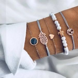 Boho 5 Piece Bracelet Set White Gray Gold